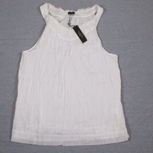 New Talbots 18 Solid White Crinkle Tank Top Sheer